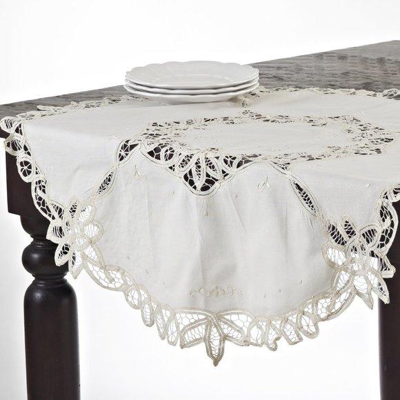 "Bianca Battenberg 36"" Round Doily Table Topper"
